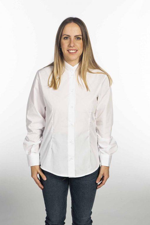 Camisa cuello mao blanca mujer