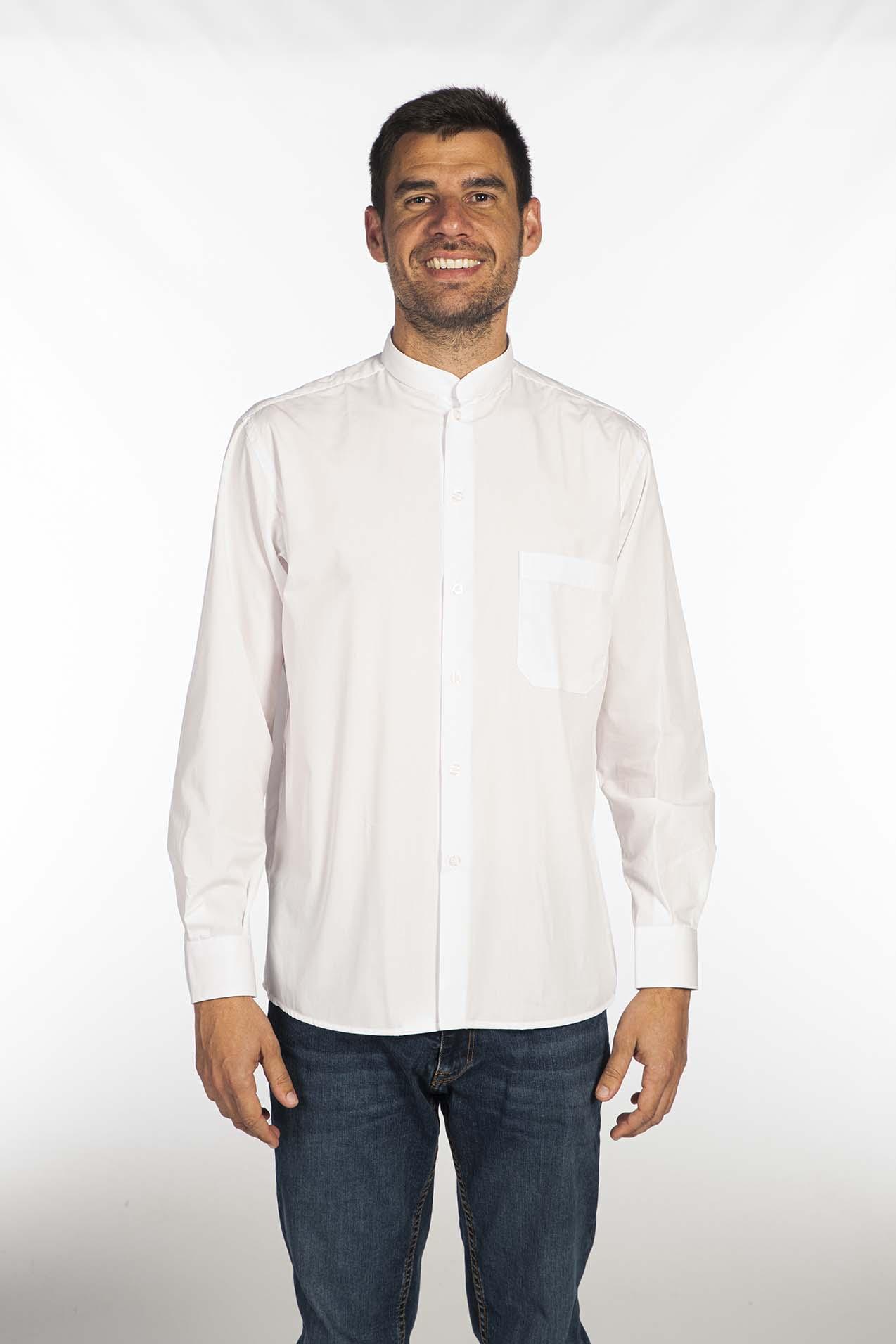 Camisa cuello mao blanca hombre